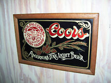 ADOLPH COORS GOLDEN COLORADO AMERICAS FINE LIGHT BEER BAR SIGN FRAMED IN WOOD