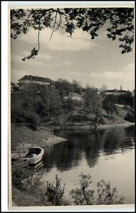 Saalburg-Thueringen-DDR-Postkarte-1962-gelaufen-Partie-am-Stausee-FDGB-Ferienheim