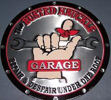 Busted Knuckle Garage Sign Shop Round Metal Aluminum Tin Vintage BKG Made in USA