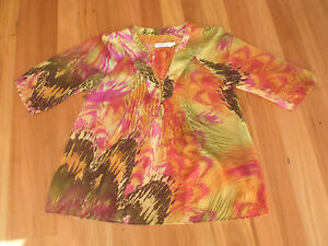 LADIES-CUTE-SHEER-ORANGE-MULTI-COLOUR-POLY-3-4-SLEEVE-TOP-BY-SUNNY-GIRL-SIZE-12