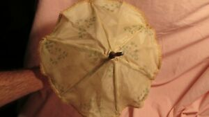 Antique-Parasol-for-French-or-German-Doll-Hand-Painted-Silk-Fabric-Millefiori