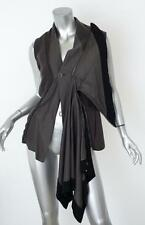 RICK OWENS Womens Gray+Black Fleece Flannel Cowl Neck Draped Tunic Top M