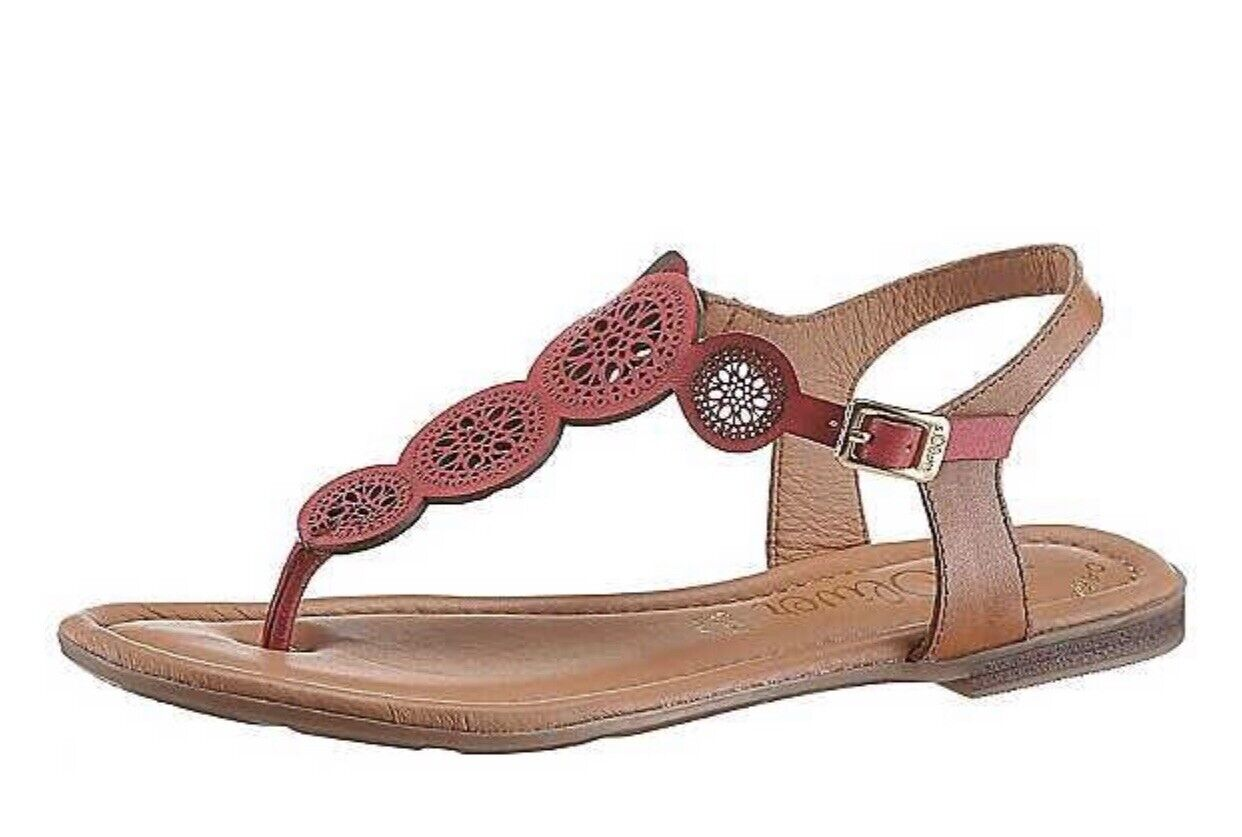 J1 129 S.Oliver Womens Toe Post Bright Red Sandals Eu Size 40