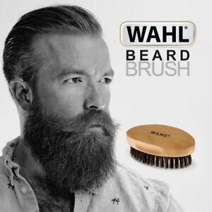 WAHL-Oval-BEARD-Military-Brush-Nylon-amp-Boar-Bristles-w-Ergonomic-Wooden-Handle