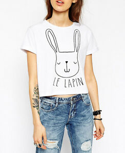 AU-Seller-Crop-Tee-T-Shirt-Top-With-Rabbit-Print