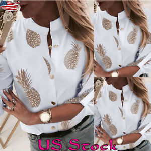 Womens-Casual-Pineapple-print-Shirt-Blouse-Ladies-Long-Sleeve-Top-Blouse-Shirts