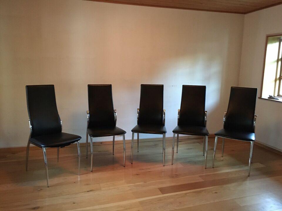 Spisebordsstol, Læder look med metal ben, Ved ikk