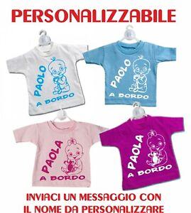 Mini T Shirt Maglietta Auto Ventosa Personalizzata Bimbo A Bordo
