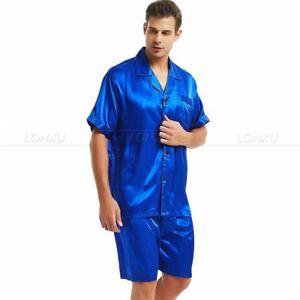 28ff70e0c24c Mens Silk Satin Pajamas Pyjamas Short Set Sleepwear Loungewear S~4XL ...