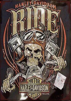 "Harley Davidson HERITAGE 10x8/"" Retro Vintage Metal Advertising Sign Wall Art Pic"
