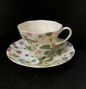 Queens-COUNTRY-MEADOW-England-Floral-Fine-Bone-China-Cup-and-Saucer-NEW-Rare