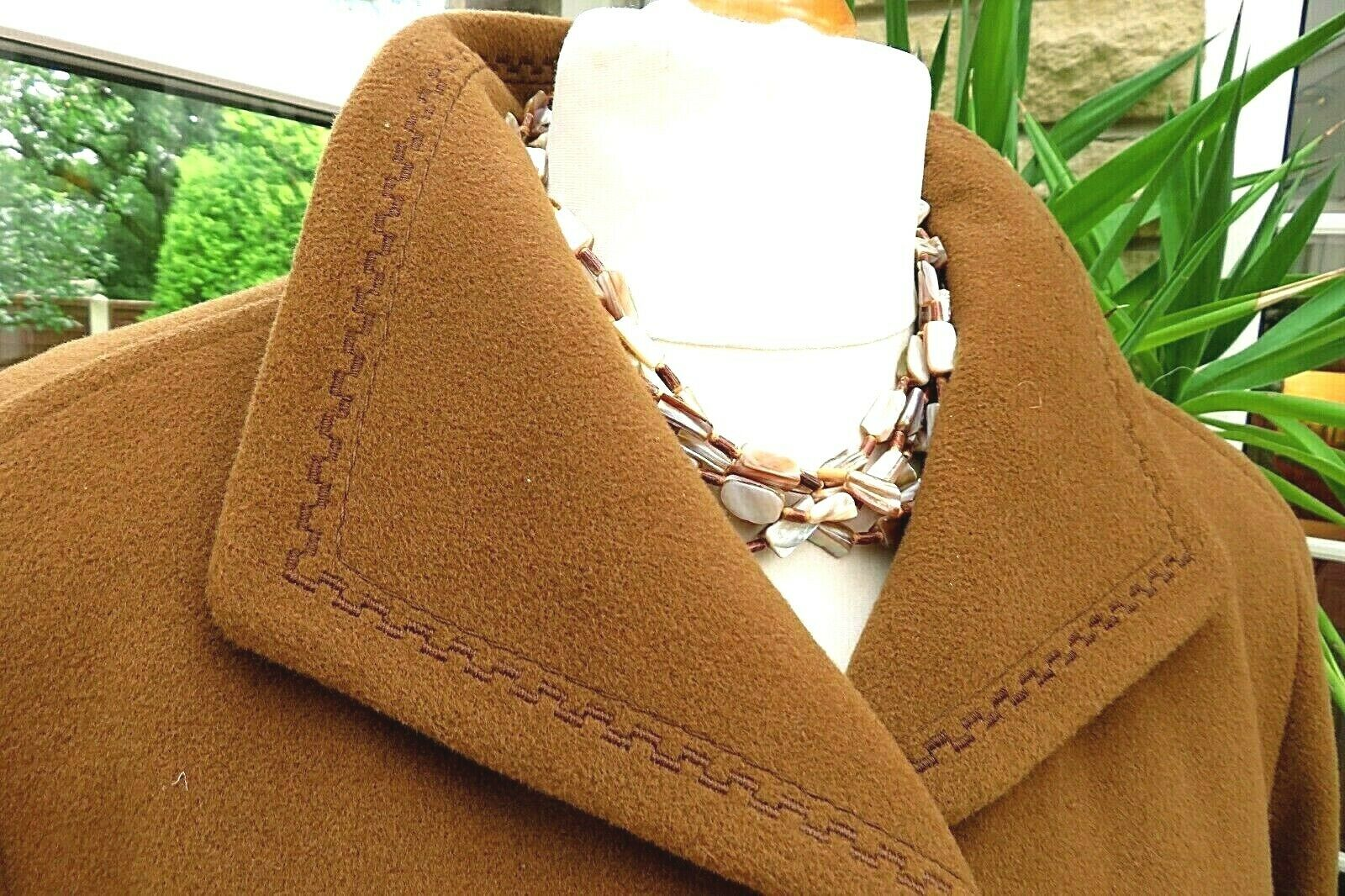Gorgeous MARCONA 60% Tan Virgin Wool with 20% Cashmere Full Length Coat sz 18