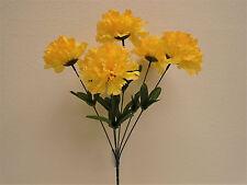 "4 Bushes YELLOW Carnation 6 Artificial Silk Flowers 16"" Bouquet FB341YL"