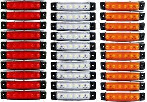 30 Stück 6 LED 24v LKW Rot Weiß Orange Leuchte Lampe ...