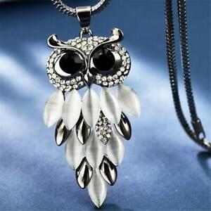 Women-Crystal-Owl-Pendant-Necklace-Fur-Rhinestone-Long-Chain-Sweater-Tassel-NEW