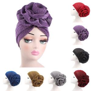 Women/'s Flower Stretch Turban Beanie Hat Head Wrap