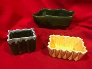 Vintage Pottery Planter UPCO USA Green Green Dripware Yellow Dripware