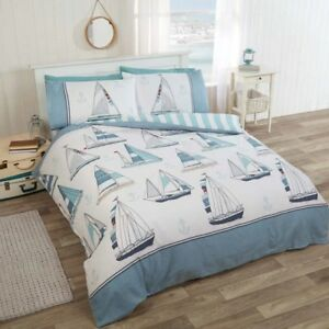 Rapport-Sail-Away-Reversible-Stripe-striped-Duvet-Cover-Bedding-Set-Blue-White