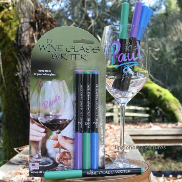 3 Wine Glass Writer Erasable Marker Pens PURPLE, GREEN, BLUE Cheese Labeler GIFT