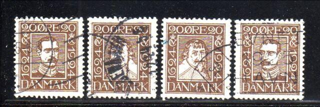 Denmark--#172-75 Used--1924 Danish Postal Service--300th Anniversary