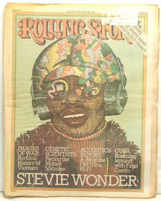 STEVIE WONDER ROLLING STONE MAGAZINE ISSUE 189 THE KINKS JUNE 19 1975 VERY RARE!
