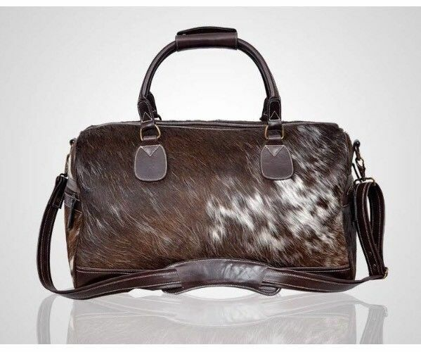 HOLDALL marron Large Duffle Travel Gym Luxury Weekend Cow fur leather Classic Bag
