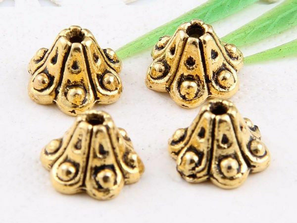 wholesale 48/162Pcs  Silver、 Gold Plated Flower Bead Caps 9x6mm (Lead-Free)