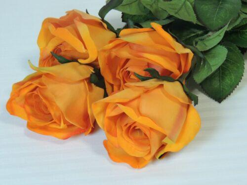 4er Set Künstliche Rose halboffen Kunstblume in gelb orange 78 cm