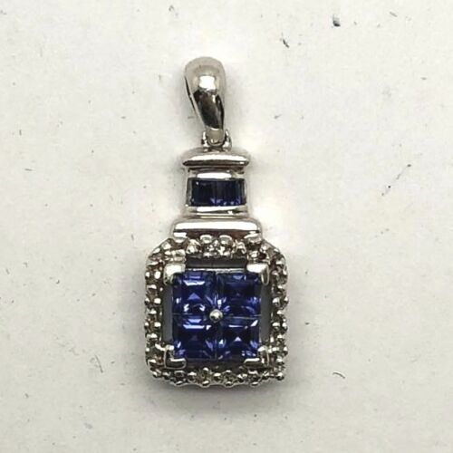 Sterling Silver 925 Blue Tanzanite Geometric Square Cluster Dotted Halo Pendant