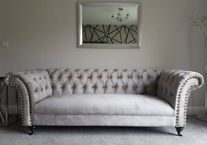 Details about NEW ENGLAND STYLE COMFY CHESTERFIELD MODERN GREY VELVET 3 & 2  SEATER SOFA COUCH