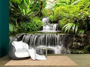 Forest Waterfall Trees Nature Plants Wall Mural Photo Wallpaper GIANT WALL DECOR