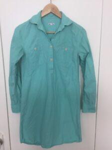 Steven-Alan-Long-Sleeve-100-Cotton-Light-Blue-Green-Shirt-Dress-Size-XS-Petite
