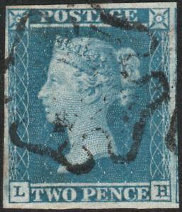 1841-SG14-2d-BLUE-PLATE-3-VERY-FINE-USE-FULL-EMPTY-MALTESE-CROSS-4-MARGINS-LH