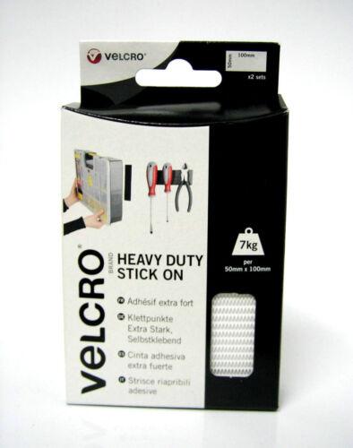 50 x 100mm White Strips VELCRO® Brand Heavy Duty Stick On Strips