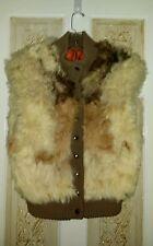 Vtg Mongolian Tibetan Tri Colored Shaggy Fur & Wool Knit Sleeveless Vest Sz M
