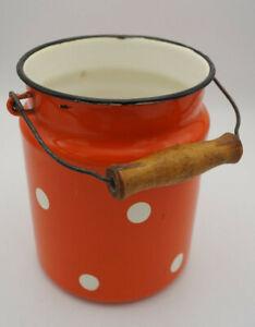 Vintage-Email-Milk-Jug-Bucket-Decor-Enamel-Retro-Dots-Utensilo-50er-13