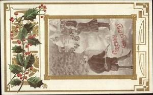 Christmas-Children-Make-Santa-Claus-Snowman-Gold-Border-Embossed-c1910