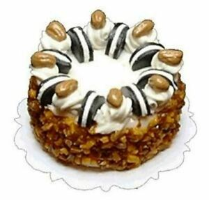 Dollhouse-Miniature-Cookie-and-Nut-Topped-Cake-1-12-Scale