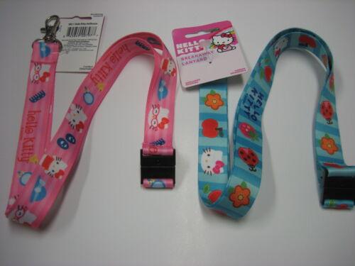 New Lot of 2 Authentic Sanrio Hello Kitty Breakaway Lanyards 1 Pink 1 Blue