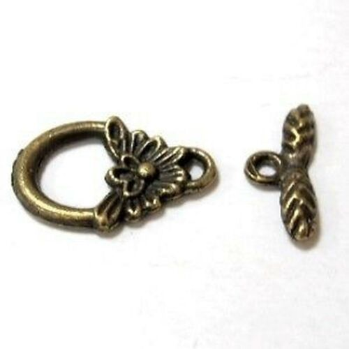 10 sets Bronze Tone Flower Leaf boutons fermoirs-A6525