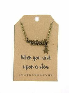 When-You-Wish-Upon-A-Star-Bronze-Word-Necklace-Message-Card-Quote-Gift