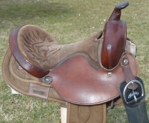 "BIG HORN 14"" Brown LIGHTWEIGHT Trail Barrel Saddle~ROUND Skirt~Leather & Cordura"