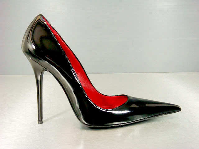 CQ COUTURE LUXURY HEELS POINTY PUMPS SCHUHE PATENT LEATHER schwarz SCHWARZ 45