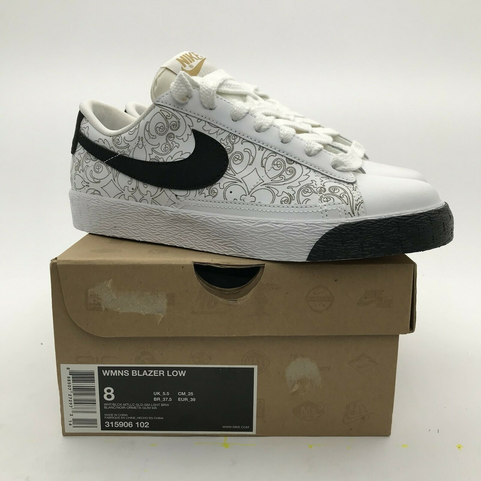 2009 Nike SB WMNS Blazer Low White Black Metallic gold 315906-102 NEW rare US 8