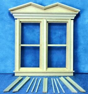 Dollhouse-Miniature-Victorian-Hooded-Nonworking-Double-Window-1-12-Scale