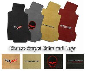 Corvette-C6-Velourtex-2pc-Front-Floor-Mats-Choice-of-Carpet-Color-amp-Logo