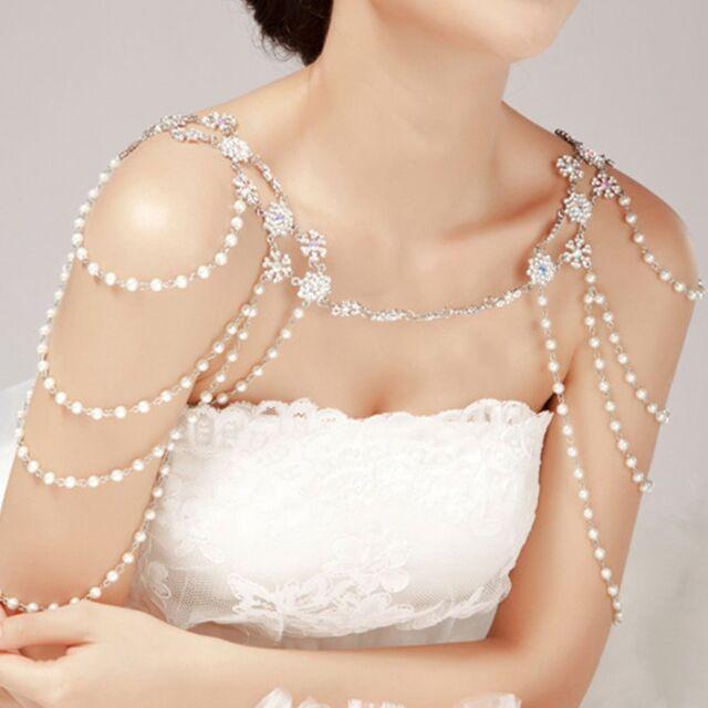 Wedding Bridal Crystal Pearl Shoulder Body Chain
