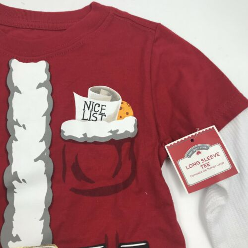 "New Boys /""Nice List /"" Christmas Red Santa Long Sleeve T-Shirt Sizes 2T 3T 4T"