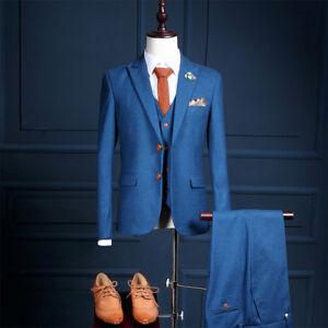 Image Is Loading Men 039 S Blue Vintage Suit 3 Pcs