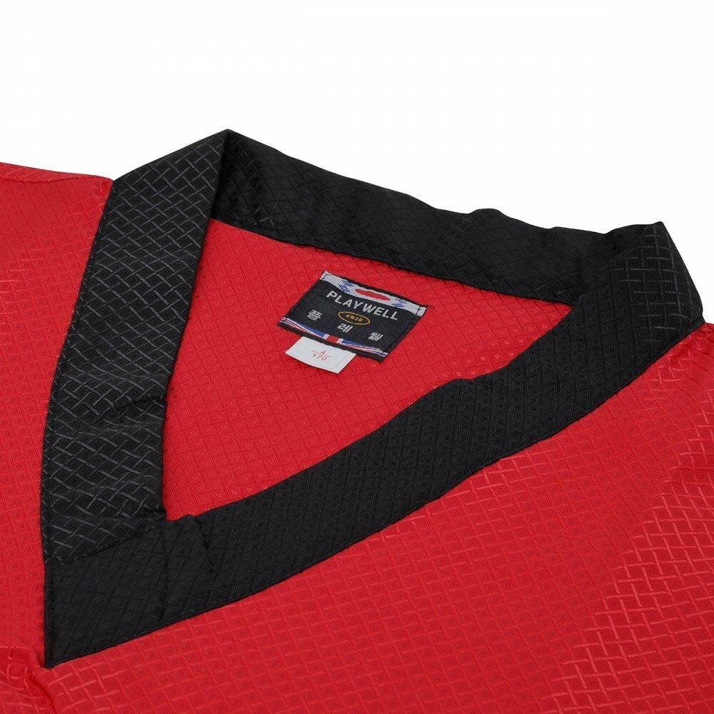 Playwell Elite Dobby Fabric Uniform Red Freestyle Martial Arts Suits Demo Team